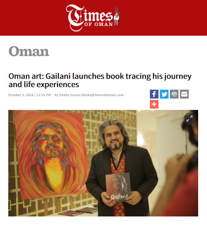 Oman art: Gailani launches book tracing his journey and life experiences