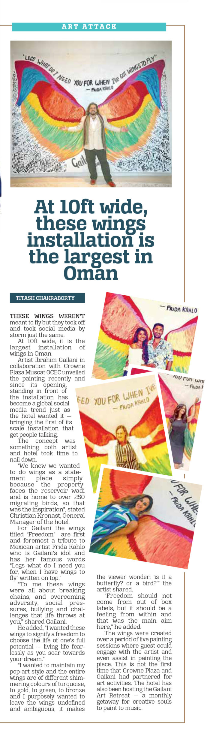 At 10ft wide, these wings installation is the largest in Oman